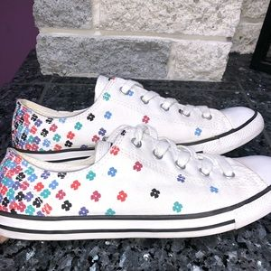 White Floral Converse Sneakers